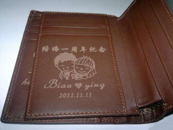 Individual Laser Marking on Leather Wallet