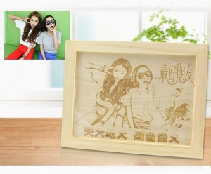 Laser Marking Engraving on Wood Photo Frame