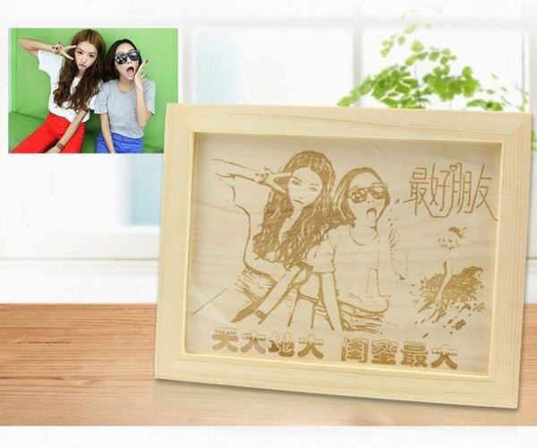 Individual Laser Marking on Wood Photo Frame