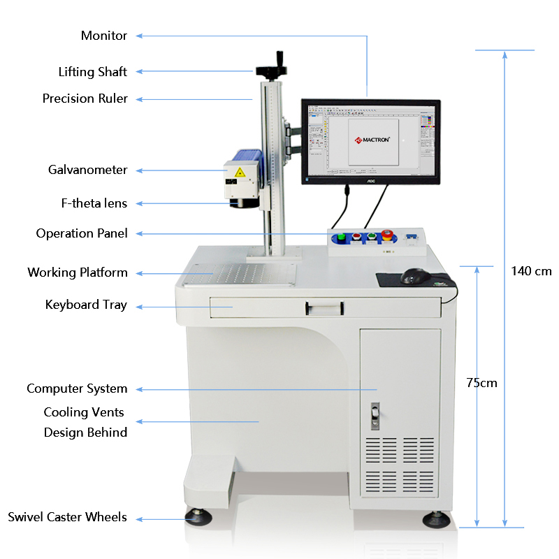 Mactron Fiber Laser Marking Machine System MT-F Series Exploded View