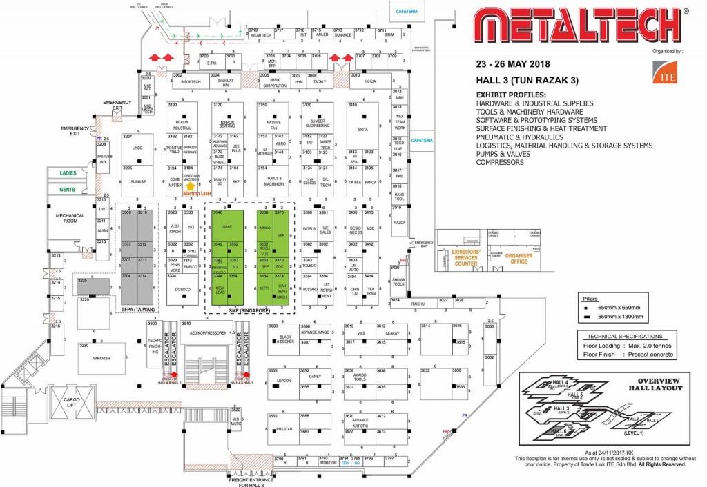MetalTECH 2018 Malaysia Hall 3 Floor Plan